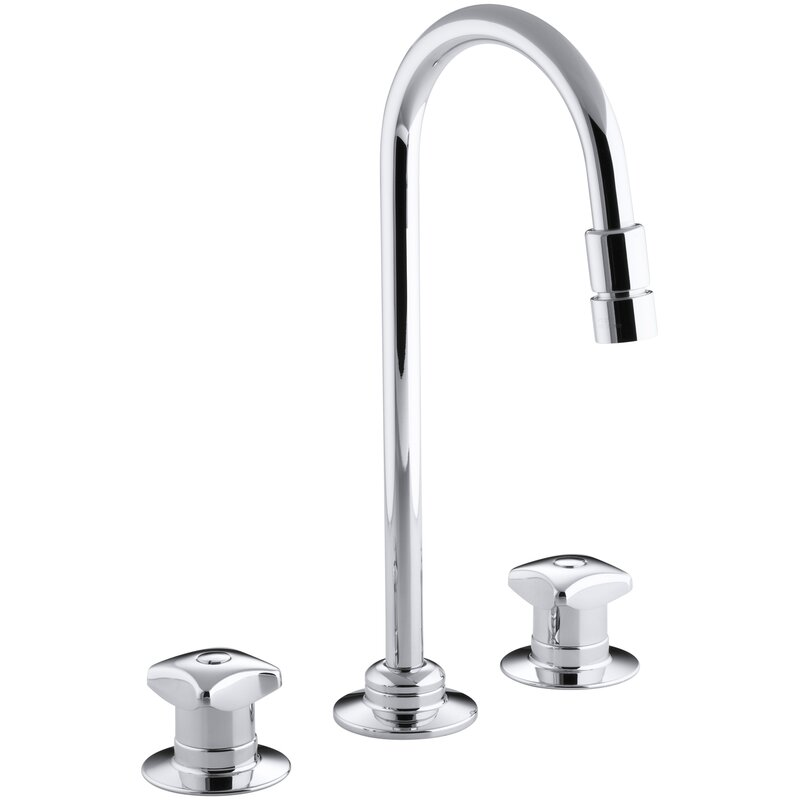 Kohler Triton Widespread Commercial Bathroom Sink Faucet With Rigid Connections And Gooseneck Spout With Vandal Resistant Aerator Requires Handles Drain Not Included Wayfair