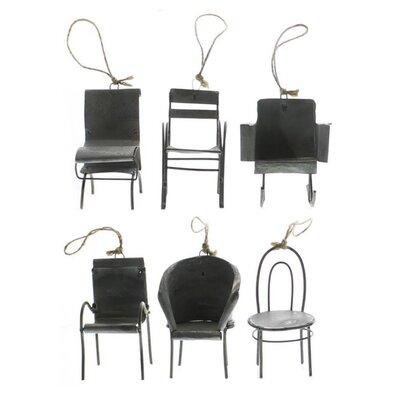 17 Stories 6 Piece Zinc Chair Hanging Figurine OrnamentSet