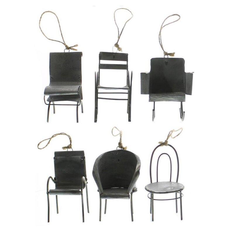 17 Stories 6 Piece Zinc Chair Hanging Figurine Set