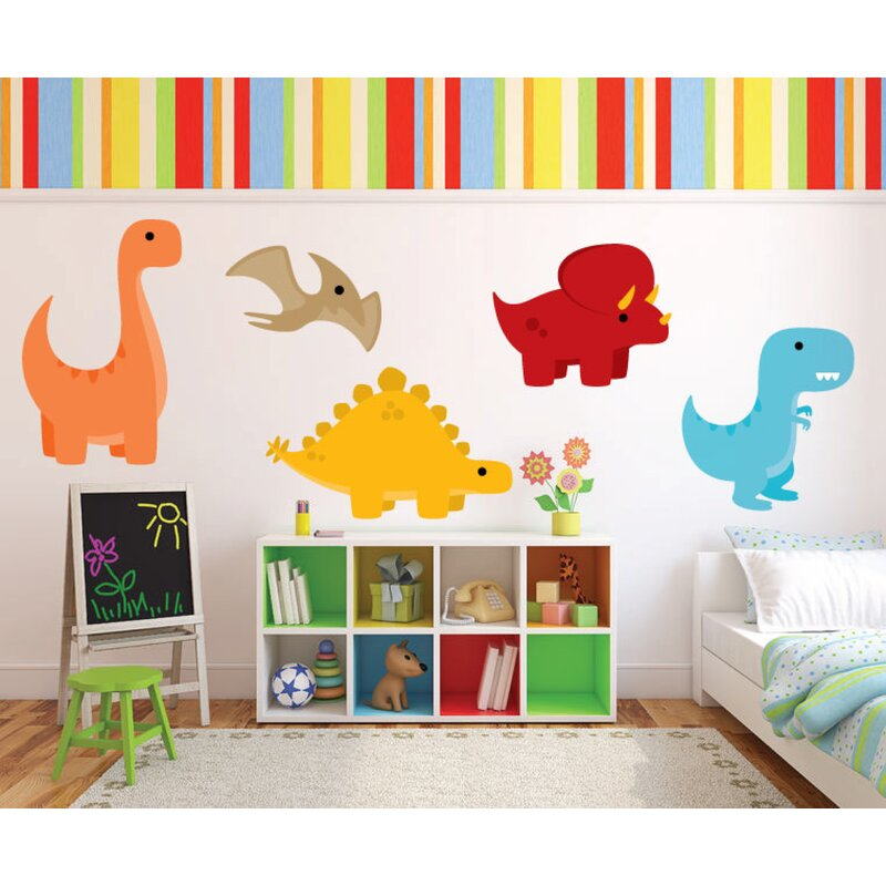 3 Trex Dinosaur Modern Nursery Quote Grey Stars Jurassic Wall Art Pictures