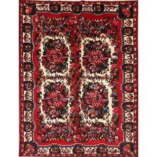 Inexpensive One-of-a-Kind Lamontagne Geometric Traditional Bakhtiari Persian Hand-Knotted 6'11 x 9' Wool Red/Black/Green Area Rug By Isabelline