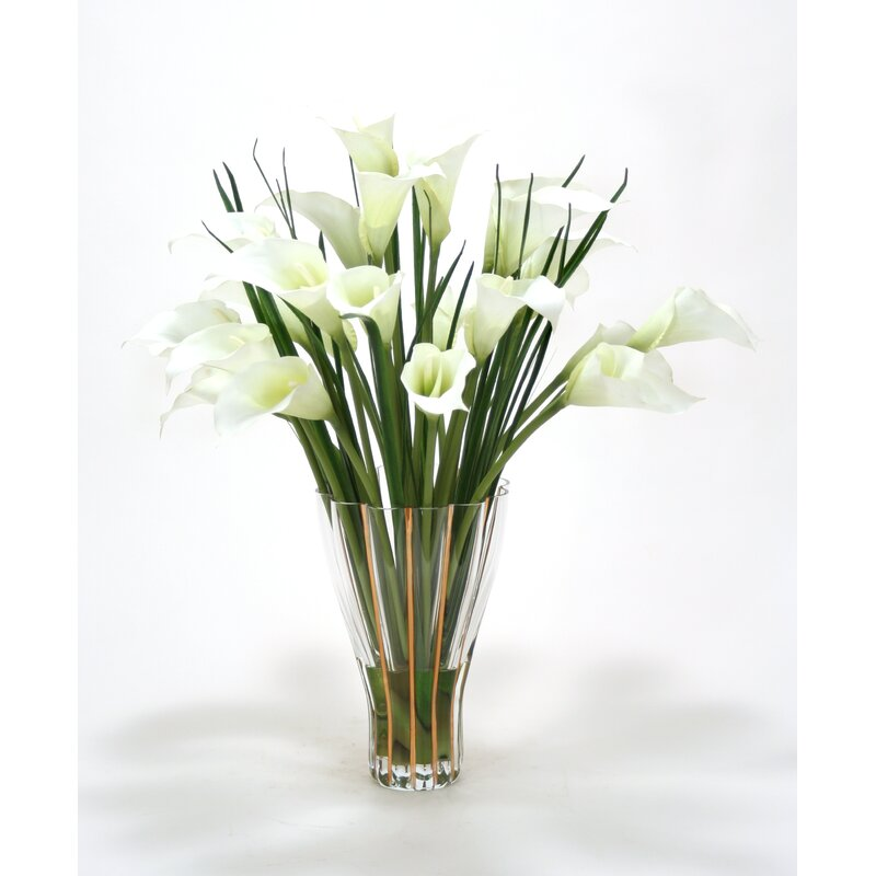 Distinctive Designs White Calla Lilies In Tall Fluted Vase Wayfair