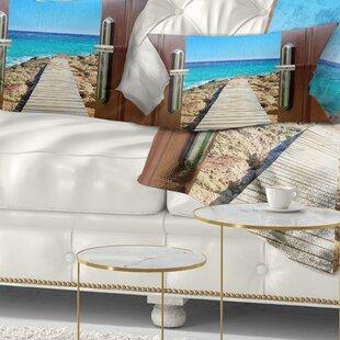 Wooden Sea Bridge Door Open to Wooden Ocean Pier Lumbar Pillow by East Urban Home