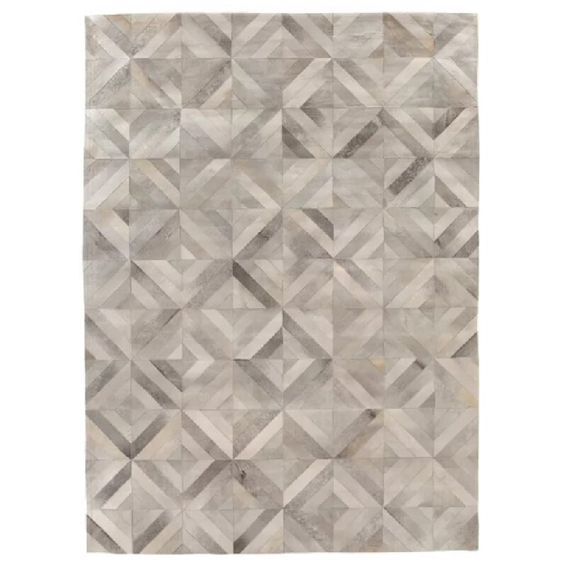 Exquisite Rugs Natural Hide Geometric Handmade Tufted Leather Silver Area Rug Wayfair