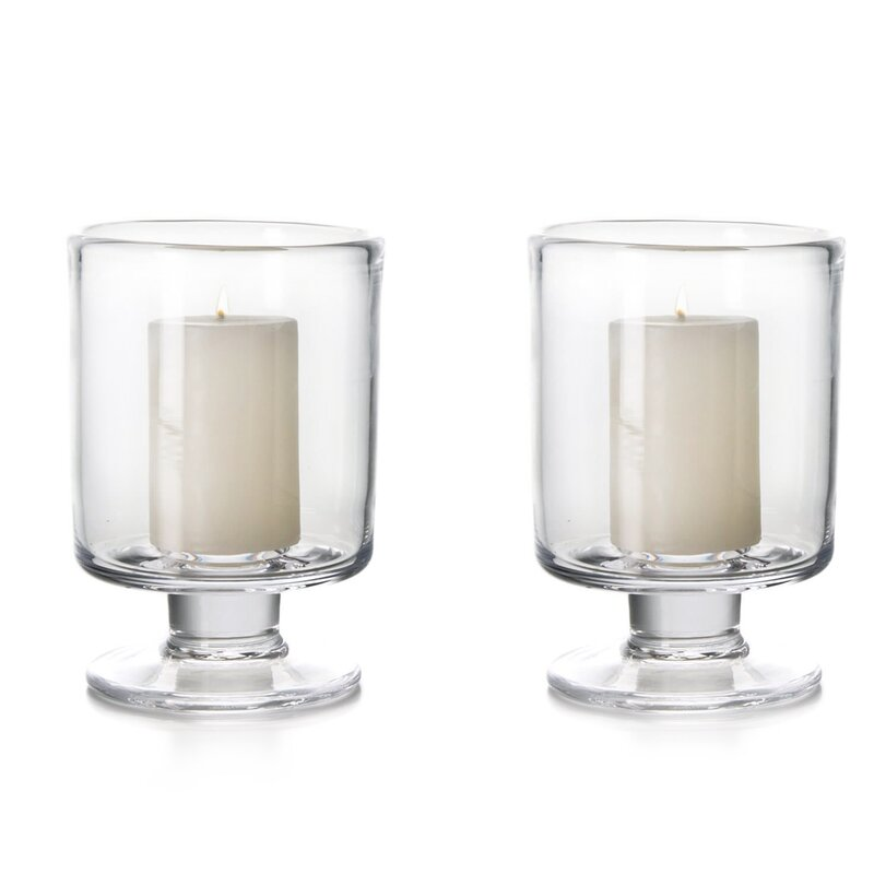 Simon Pearce Nantucket 2 Piece Glass Tabletop Hurricane Set With Candle Included Perigold