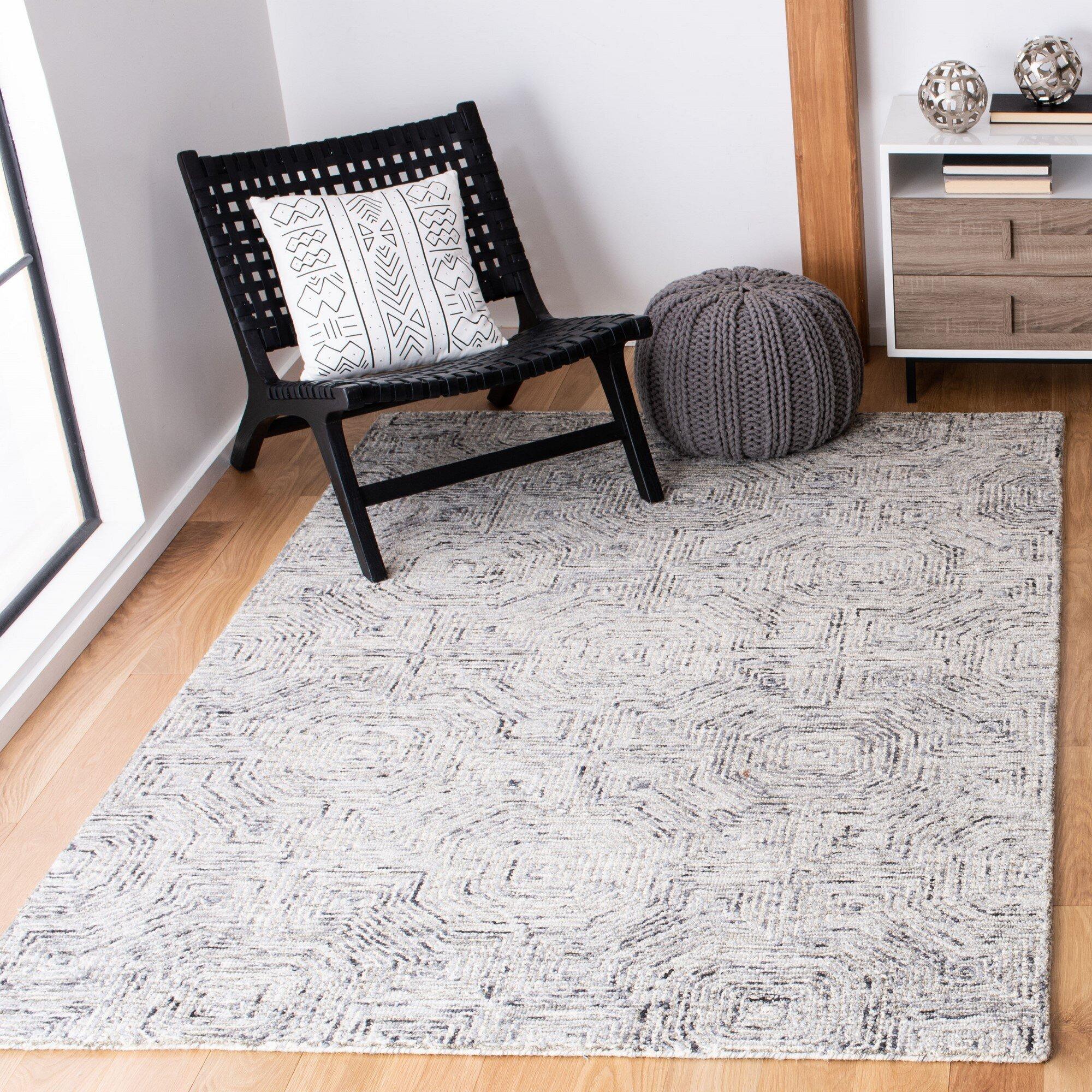 Union Rustic Deyoung Geometric Handmade Tufted Wool Gray Area Rug Wayfair