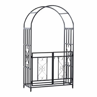 HomCom Decorative Steel Arbor with Gate