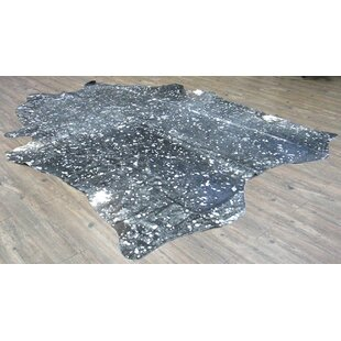 Compare prices Broadmeade Hand Woven Cowhide Black Area Rug ByFoundry Select
