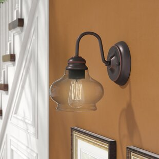 Reviews Bateson 1-Light Wall Sconce By Three Posts