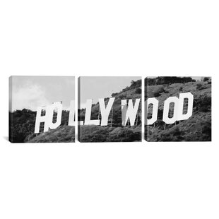 'Hollywood Skyline Cityscape Sign 3 Piece' Photographic Print on Wrapped Canvas Set in Black and White by East Urban Home