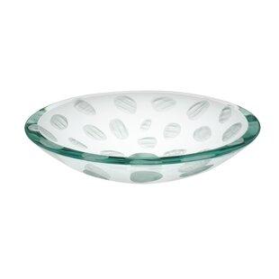 Ailee Designs Frost Imprint Glass Circular Vessel Bathroom Sink