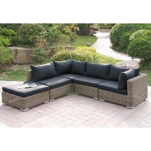 A&J Homes Studio Harvey 5 Piece Patio Sectional Set II with Cushions