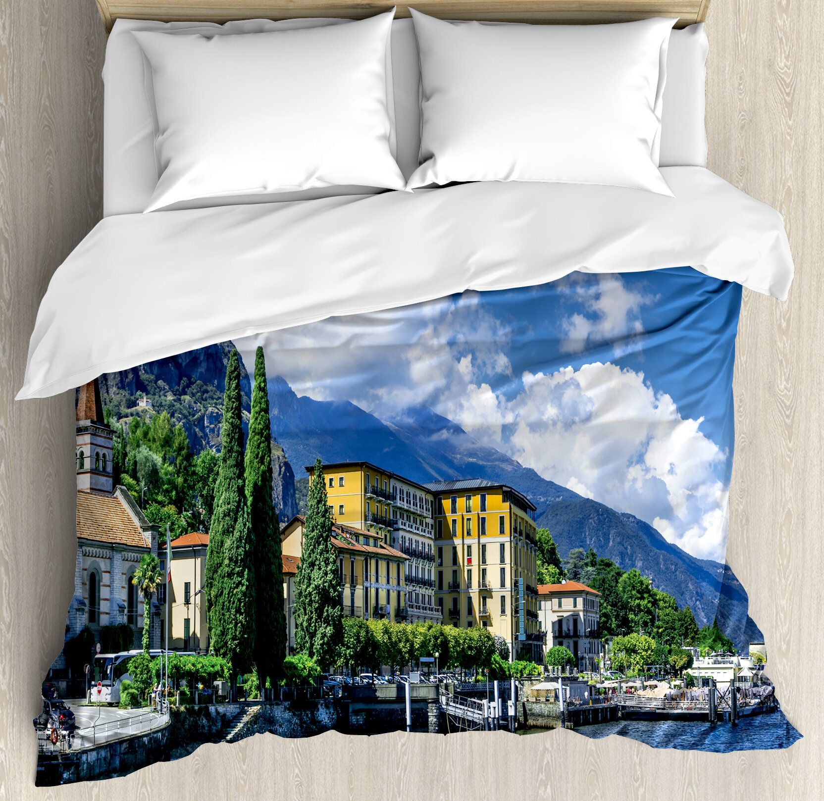 East Urban Home Italy The Panoramic Landscape Of Lake Como Mountains And Clouds Digital Image Duvet Cover Set Wayfair