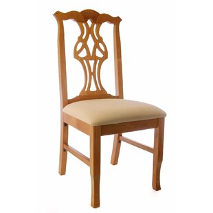 Benkel Seating Chippendale Side Chair in Cream Microfiber