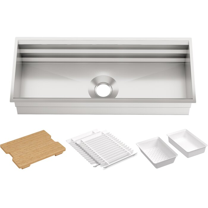 Prolific 44-in x 18-1/4-in x 10-in Under-Mount Single-Bowl Kitchen Sink  with Accessories