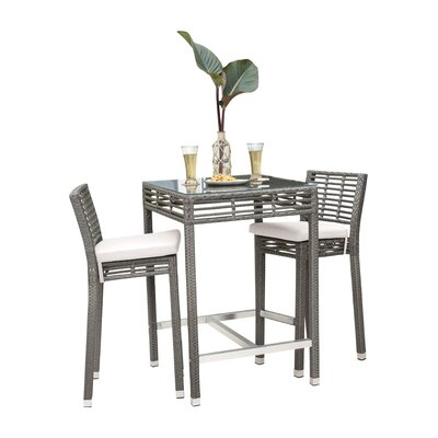 Ordinaire Graphite 3 Piece Bar Height Dining Set With Cushions