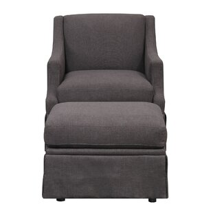 Emerald Home Mckinley Charcoal Grey Accent Chair With Ottoman And Skirted  Base
