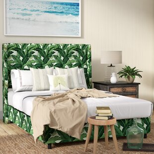 Beachcrest Home Promfret Swaying Palm Aloe Nail Button Tufted Upholstered Panel Bed