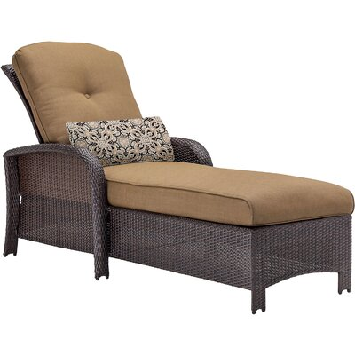 Barrand Reclining Chaise Lounge with Cushion Color: Tan by Darby Home Co