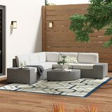 Connie 6 Piece Rattan Sectional Seating Group with Cushions by Ivy Bronx