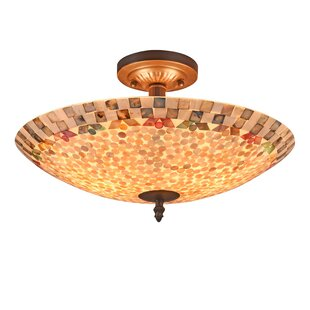 Hennings Mosaic 2-Light Semi Flush Mount by Highland Dunes