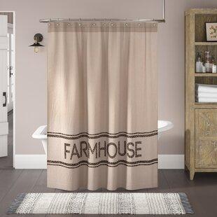 Surikova Farmhouse Cotton Single Shower Curtain