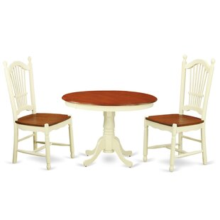 Travis 3 Piece Solid Wood Dining Set August Grove