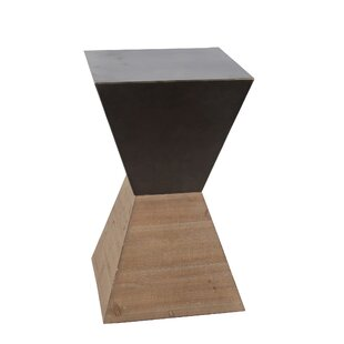Quin Large Wood Iron End Table by Ivy Bronx