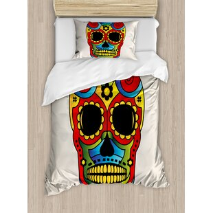 2a12418e299af Sugar Skull Vibrant Figure Macabre Mexico Latin Tradition Mythical  Religious Duvet Cover Set