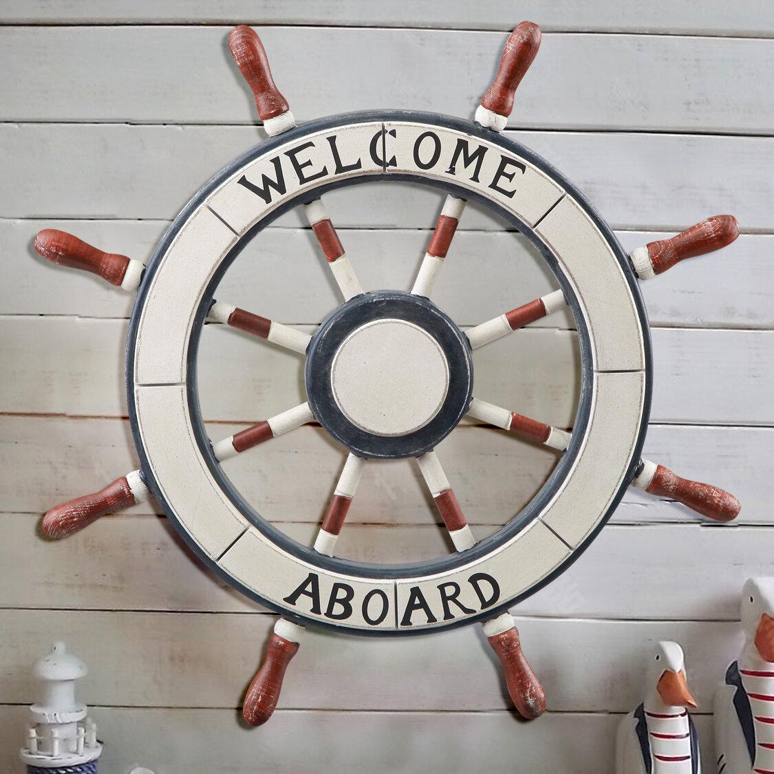 Breakwater Bay Ornamental Nautical Ship Steering Wheel Home Wall Decor Reviews Wayfair