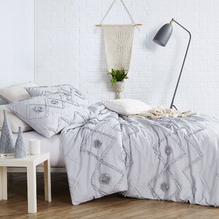 Belcher Ruffled Chevron Textured Oversized Duvet Cover