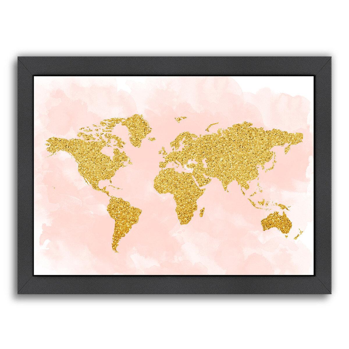 East Urban Home World Map 4 Framed Graphic Art Wayfair