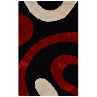 Marview Shaggy Oriental Hand-Tufted Red/Black Area Rug By Orren Ellis