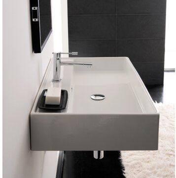 Teorema 24 White Ceramic Rectangular Wall Mount Bathroom Sink With Overflow Allmodern