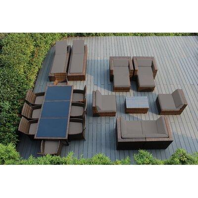 Orren Ellis Baty 20 Piece Complete Patio Set with SUNBRELLA Cushions Cushion Color: Sunbrella Taupe, Frame Finish: Mixed Brown