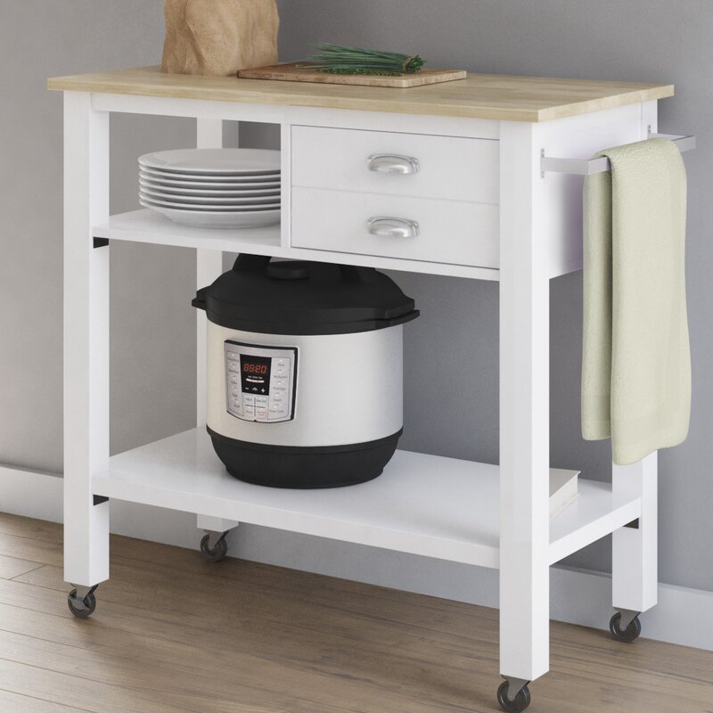 August Grove Newtowne Rolling Kitchen Cart with Solid Wood Top