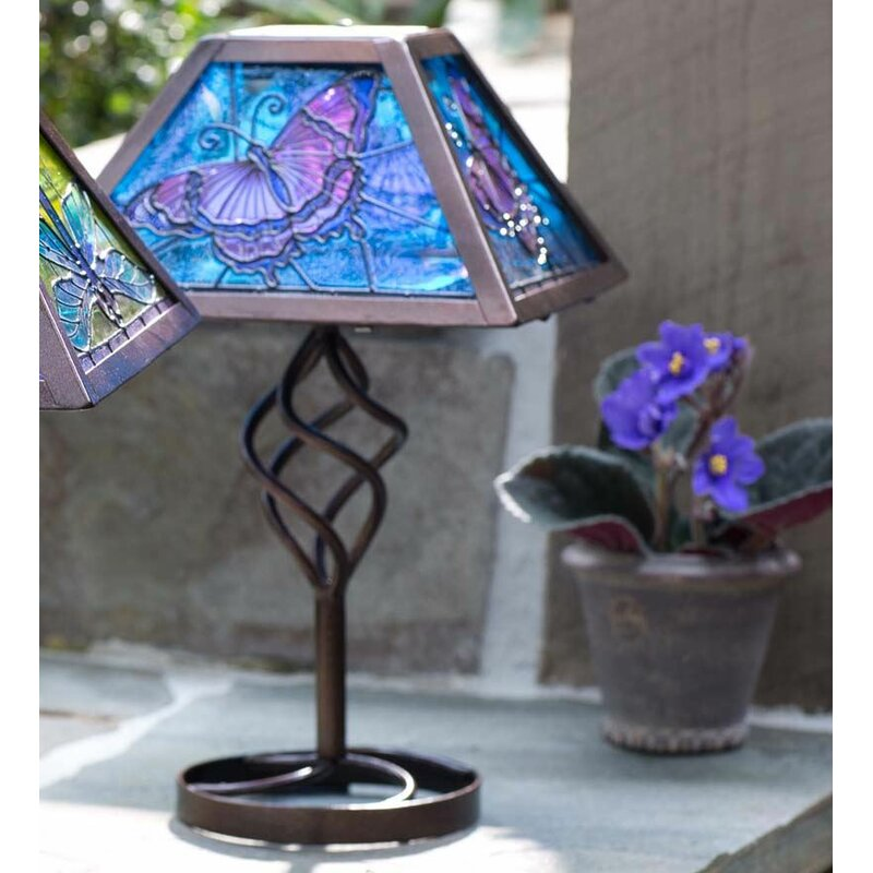 Plow Hearth Tiffany Style Butterfly Solar Outdoor 12 75 Table