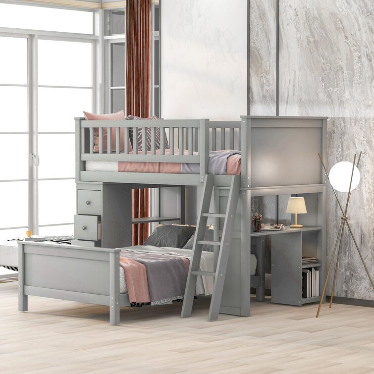 Henri Twin Over Twin 4 Drawer L-Shaped Bunk Beds with Shelves by Harriet Bee