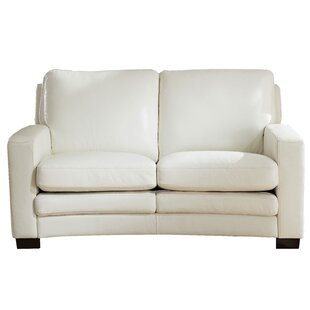 Theodora Craft Leather Loveseat by Three Posts