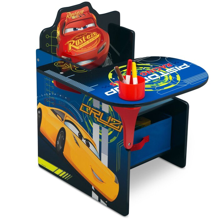 Cool Disney Pixar Cars Kids Chair Desk With Storage Compartment Pabps2019 Chair Design Images Pabps2019Com