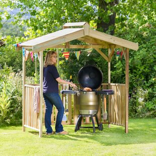 Up To 70% Off 2.1m X 1.3m Solid Wood BBQ Gazebo