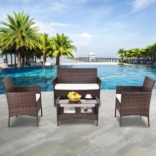 Bay Isle Home Standifer 4 Piece Rattan Sofa Set with Cushions