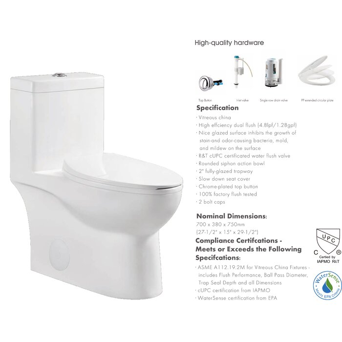Laredo 1 28 GPF Dual-Flush Elongated One-Piece Toilet with Glazed Surface  (Seat Included)