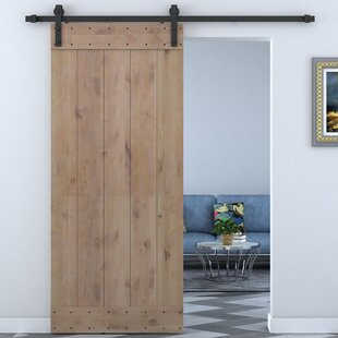 Bent Strap Sliding Door Track Hardware and Vertical Slat Primed Sliding Knotty Solid Wood Panelled Alder Slab Interior Barn Door & Sliding/Track Barn Doors You\u0027ll Love | Wayfair