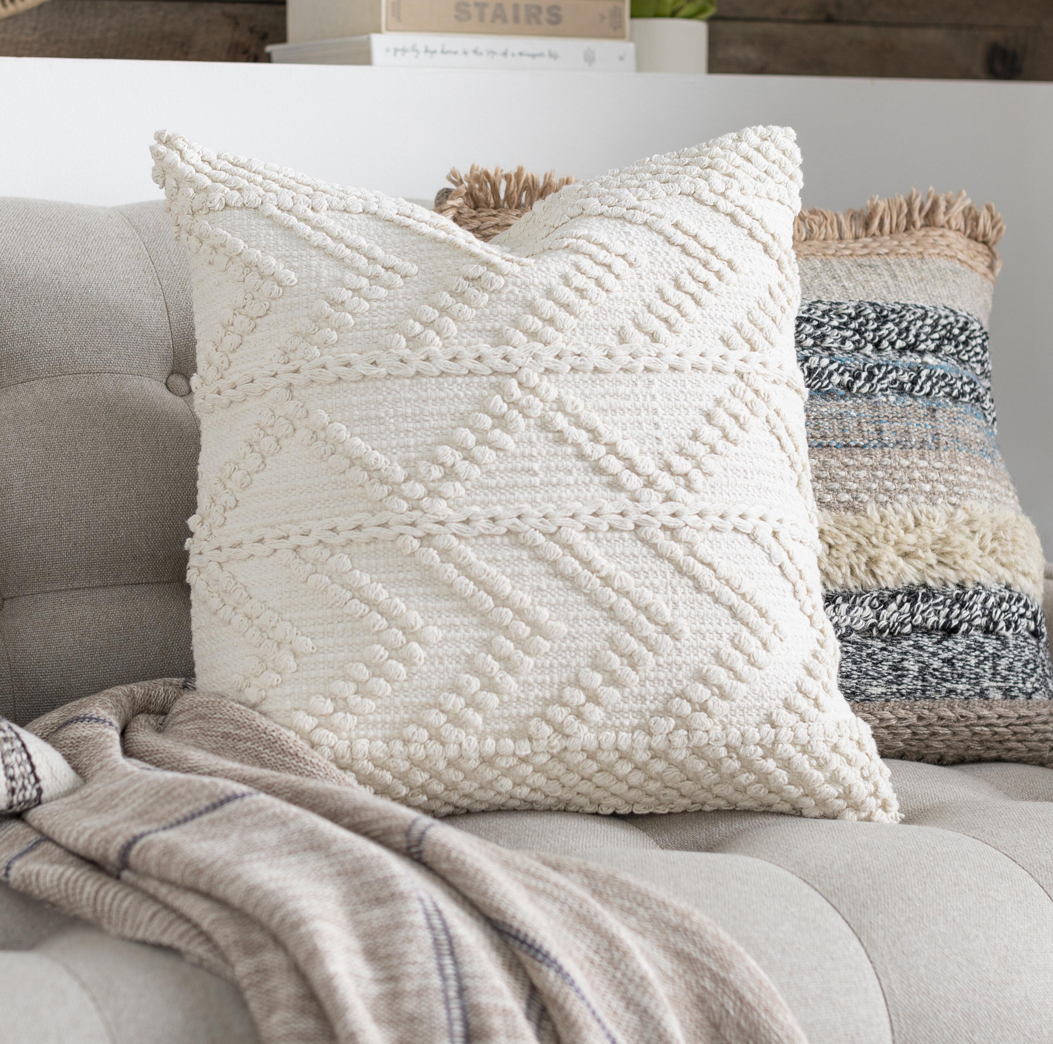 Statler Textured Cotton Throw Pillow Reviews Joss Main