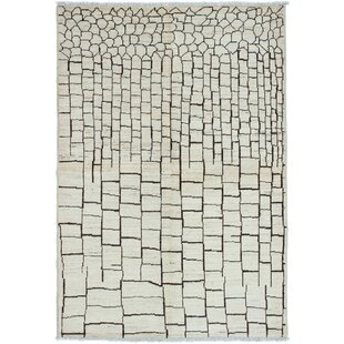 Best Deals One-of-a-Kind Dolphin Hand-Knotted 6' x 8'10 Wool Gray/Black Area Rug By Isabelline