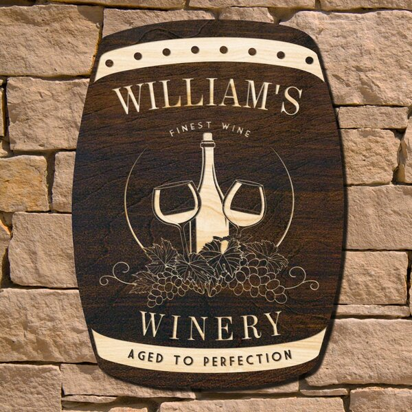 Personalized Wine Barrel Sign | Wayfair