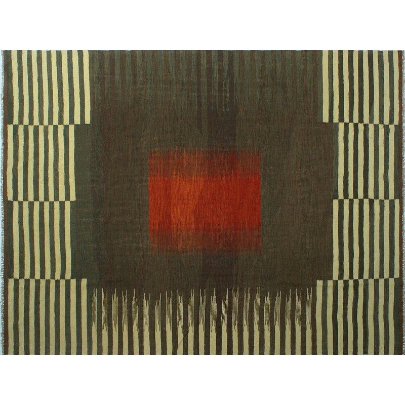 Latitude Run Ames Striped Handmade Kilim Wool Rust Area Rug Wayfair