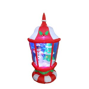 Christmas Lantern with Snowmen and Christmas Tree Inflatable Lighted Display
