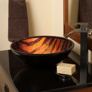 Find Mimetica Glass Circular Vessel Bathroom Sink with Faucet By Novatto